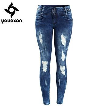 2083 Youaxon Women`s Embroidery Mid Low Waist Washed Stretchy Ripped Pencil Skinny Denim Pants Jeans For Women Jean