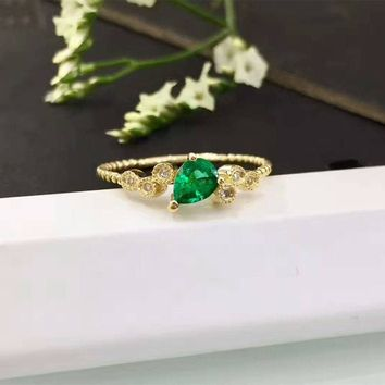 Pear Cut 4x5mm Natural Green Emerald 18k Rose Gold Diamond Accents Vintage Engagement Ring (CFGR0010)