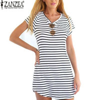 ZANZEA Summer Style New Women Dress Casual Loose Black White Striped Dresses Short Sleeve O Neck Mini Vestidos Plus Size