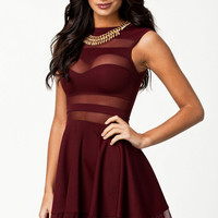 Maroon Red Mesh Panel Skater Dress