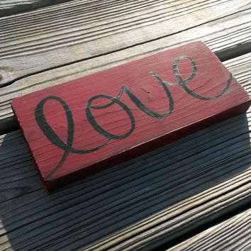 Love Distressed Reclaimed Wood Hand Painted Sign Stocking Stuffer