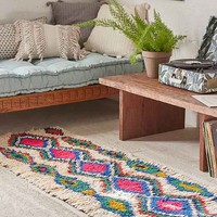 One-Of-A-Kind 2x7 Moroccan Tufted Boucherouite Runner Rug