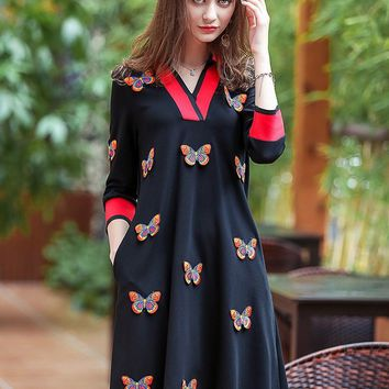 Butterfly Embroidered Midi Dress