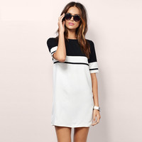 2017 Women Shirt Dress Top Tee Summer Style Short Sleeve Stripes Loose Casual Jersey Mini Shift Dress Long T-shirt Y0830-59E