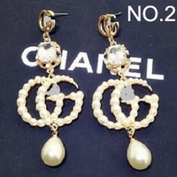GUCCI Rhinestone Crystal Pearl Double G Letter Earrings Personality Long Earrings F0384-1 Gold No. 2