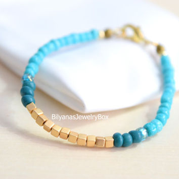 Gold Cube Bracelets Turquoise And Gold Jewelry Boho Bracelet Turquoise Bracelet Gold Bracelet