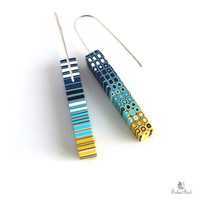 Yellow and blue earrings - turquoise,  navy blue - Geometric  jewelry - Stripes