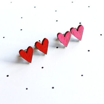 Wooden Laser Cut Love Heart Earrings