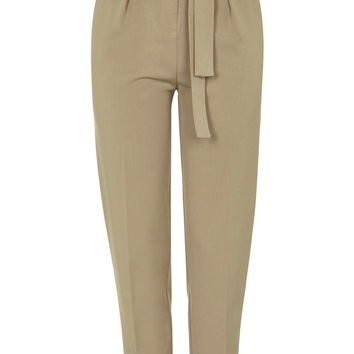 Belted Tapered Trousers - Topshop