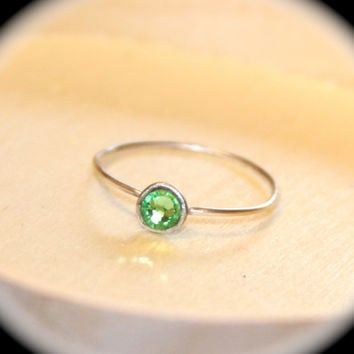 Peridot Sterling Silver Thin Ring, Stacking Ring, August Birthstone Ring, Midi Ring, Knuckle Ring, August Gemstone Ring