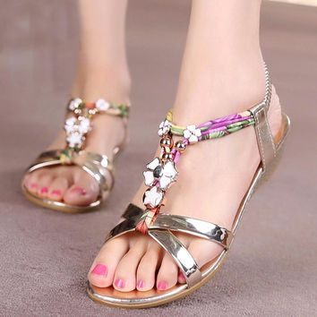 Flowers Printing Summer Beach Sandals