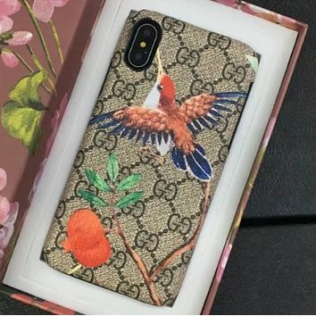 Gucci IPhoneX shell leather case with a hard shell to prevent a new wave of men and women hummingbird