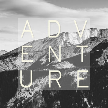 Adventure Quote Printable, Black and White Home Decor, Square Wall Art, Mountains Landscape - Digital Graphics, INSTANT DOWNLOAD