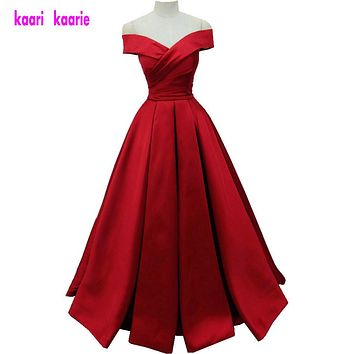 2017 Simple Dark Red Prom Dresses V Neck Off The Shoulder Ruched Satin Backless Corset Evening Gowns Formal Dresses Real Image