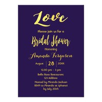 Love bridal shower dark blue gold letters card