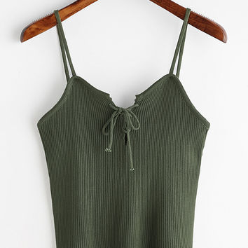 Green Lace Up Front Ribbed Knitted Cami TopFor Women-romwe