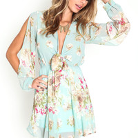 COLDSHOULDER RIBBON TIE BLOSSOM DRESS