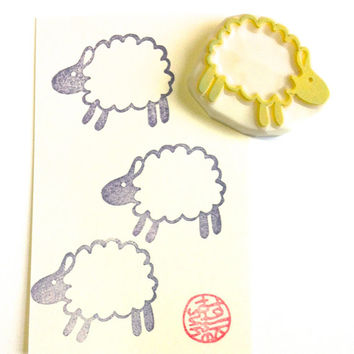 sheep rubber stamp. hand carved rubber stamp. little lamb. running sheep.