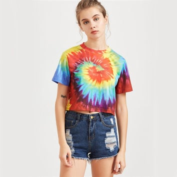 Tie Dye Print T-shirt Women Multicolor Casual Summer Tops Fashion Vintage Cute