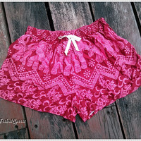 Red Elephant Shorts Print Boho Hobo Beach Hippie For Summer Hipster Exotic Elegant Clothing Aztec Ethnic Bohemian Ikat Boxes Sleepwear Beach
