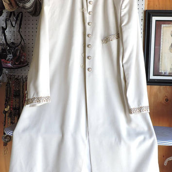Vintage evening coat / size L 14 / 16 / silk cream opera coat / off white long formal coat /  SunnybohoVintage