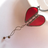 Valentines gift, heart stained glass, contemporary jewelry, copper wire pendant, stain glass pendant, red, transparent, stained glass, Love