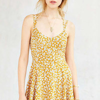 Yellow Floral Printed Mini Dress