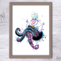 Disney Ursula watercolor print The Little Mermaid art poster Disney wall decor Kids room decor Wall hanging watercolor poster Gift idea V195