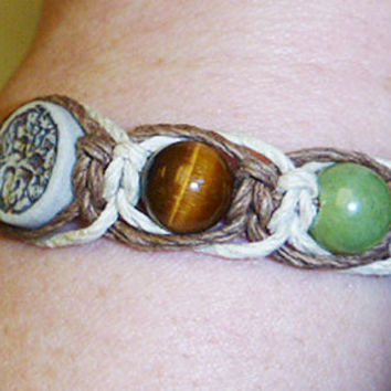 Clay Tree of Life Hemp Marcrame Bracelet with Tigers Eye womens hippie handmade jewelry Ohm