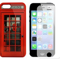 Iphone 5s Case, Red Telephone Booth Best of London Design Case for Iphone 5/5s - Free Screen Protector