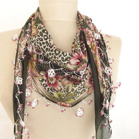 woman scarf - green scarf - cotton scarf - turkish scarves - Oya Scarf -floral scarf -scarf accessories -