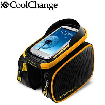 CoolChange Double Pouch Cycling Bicycle Top Tube Frame Bag Front Frame Bag Waterproof Bike Frame For 6'' 6.2''Pannier Bag