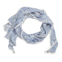 H&M - Triangular Scarf - Blue/Patterned - Ladies