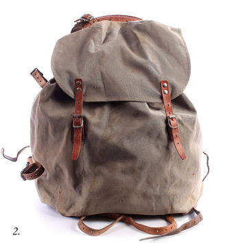 Mens Canvas Backpack . 1930s Miliraty Rucksack Ruck Sack . Large Bag