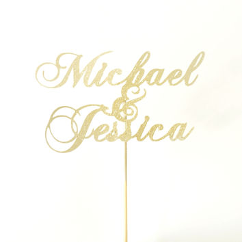 Custom Gold Glitter Wedding Cake Topper Traditional Calligraphy Personalized Name Cake Topper Handmade