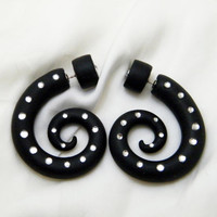 Fake gauge, Fake piercing,  black with zircons, fake stretching earrings, faux ear piercings, fake expanders , fake stretchers