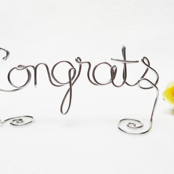 Congrats Wire Cake Topper- Brown or Silver