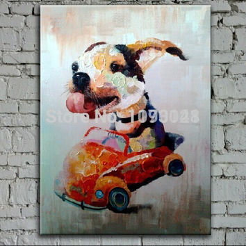 Free Shipping Original Handpainted Abstract Animal Oil Painting Cartoon Oil Wall Art Paints Happy Driving Dog Pictures No Frame