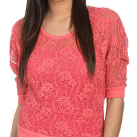 Lace Crochet Sweatshirt - Teen Clothing by Wet Seal