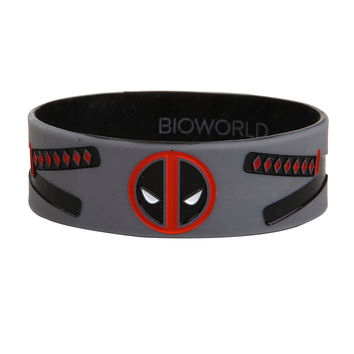 Marvel Deadpool Swords Logo Rubber Bracelet