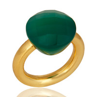 Faceted Green Onyx Gemstone 18K Gold Plated Sterling Silver Stacking Ring
