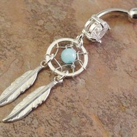Amazonite Dream Catcher Belly Button Ring from MidnightsMojo