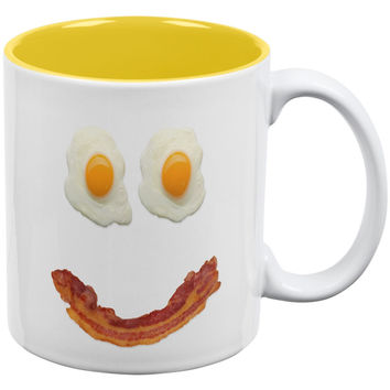 Mr. Happy Smiley Face Bacon And Eggs White-Yellow All Over Coffee Mug