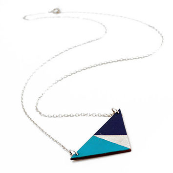 Geometric, wooden triangle necklace - sky blue, silver, dark blue - minimalist, modern jewelry - color blocking