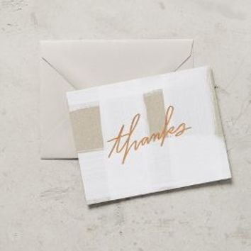 Goldfoil Thank You Card by Anthropologie in White Size: One Size Books