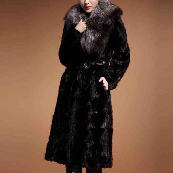 Free Shipping New Winter Luxury Women's Outerwear Long Sleeve Faux Mink Fur Coat Long Jacket Black FF203
