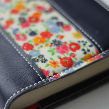 Navy Leather Bible Cover with Vintage Floral Accent, Custom Fit, Made to fit your bible, Genuine Leather Bible Cover, Handmade bible cover