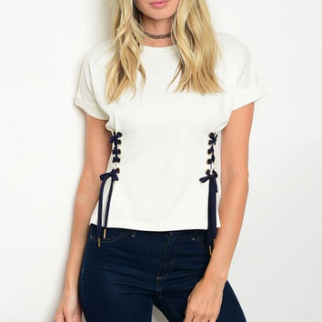 Women's Ivory Lace Up Corset Sweatshirt Short Sleeve Top Blouse Casual Stretch