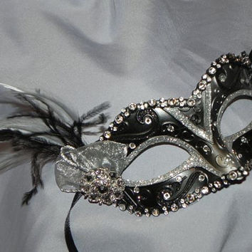 Black and Silver Feather Masquerade Mask by TheCraftyChemist07