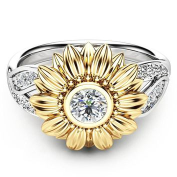 Two Tone Silver Floral Ring Round Diamond Gold Sunflower Jewel